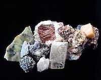 MINERAL FLUORESCENCE<br /> Photoluminescence<br /> (1 of 2)<br /> In daylight - 1) powellite 2) willemite 3) scheelite 4) calcite 5) calcite, willemite 6) optical calcite 7) willemite 8) opal patch