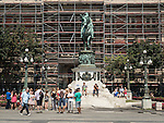 Republic Square with scaffolding, Street photography, Belgrade, Serbia<br /> <br /> <br /> Prince Mihailo (Obrenoic III, Prince of Serbia) Monument, Republic Square in Belgrade, Serbia. Erected in 1882. It was first public monument with representation of equestrian figure of ruler in Serbia and was sculpted by Italian sculptor Enrico Pazzi.