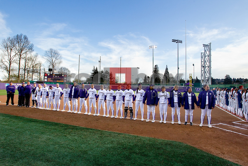 The University of Washington women's softball team played the University of Arizona at the UW in Seattle on Thursday April 5, 2012 . (Photo by Scott Eklund/ Red Box Pictures)