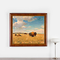 "Hoffman: Buffalo On The Plains, Digital Print, Image Dims. 30.5"" x 35.25"", Framed Dims. 37.25"" x 42"""