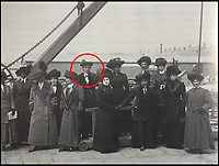 BNPS.co.uk (01202 558833)<br /> Pic: HAldridge/BNPS<br /> <br /> Mabel Bennett, a first class stewardess (circled) wearing the coat on SS Lapland two weeks later.<br /> <br /> A fur coat which helped keep a Titanic survivor warm in the aftermath of the disaster that was unearthed 105 years later - has sold for a staggering &pound;181,000.<br /> <br /> Mabel Bennett, a first class stewardess on the doomed liner, grabbed the thick garment from her room before climbing into a lifeboat as the ship gradually sank in the icy Atlantic.<br /> <br /> Mabel still had the coat with her days later when she was photographed wearing it while on board the SS Lapland, the ship that took all the surviving Titanic crew members back to England.<br /> <br /> Mabel, from Southampton, kept the beaver lamb sheepskin coat for the next 50 years until she gave it to her great niece because it became too heavy for her to wear in her old age.
