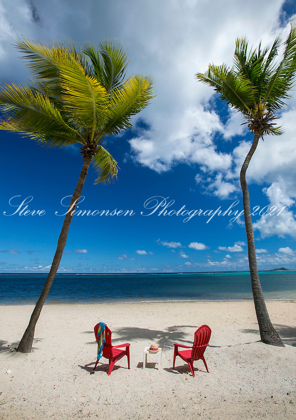 Palm trees on Turquoise Bay in front of <br /> Sugar Beach Condo Resort<br /> St. Croix<br /> U.S. Virgin Islands
