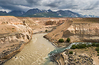 Confluence of the Knife, Lethe, and fresh water Windy creek, which flow into the Ukak river, Valley of 10,000 smokes, Katmai National Park, Alaska. Ash landscape from the 1912 Novarupta volcano eruption.