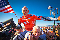 OCEAN BEACH, San Francisco/California (Tuesday, November 1, 2011) Kelly Slater (USA)  x 11 World Champion. – Clean three-to-five foot (1 – 1.5 metre) waves graced the banks at Ocean Beach today as the world's best kicked off the Rip Curl Pro Search San Francisco.. Event No. 10 of 11 on the 2011 ASP World Title Series, the Rip Curl Pro Search San Francisco played a pivotal role in both the requalification campaigns of the world's best surfers and the hunt for the 2011 ASP World Title.. .Kelly Slater (USA), 39, defending Rip Curl Pro Search champion, looked sharp while opening his campaign in San Francisco, navigating through several barrels and executing committed turns to earn a 16.03 heat total and a Round 1 heat victory.. Slater, reigning 10-time ASP World Champion and secured secure his unprecedented 11th crown this afternoon when he defeated Dan Ross (AUS).. Photo: joliphotos.com