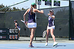 23 April 2015: Monica Robinson (right) and Quinn Gleason (left). The Notre Dame University Fighting Irish played the Florida State University Seminoles at the Cary Tennis Park in Cary, North Carolina in a 2015 NCAA Division I Women's Tennis and Atlantic Coast Conference Tournament First Round match. Florida State won the match 4-3.