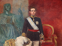 Portrait of His Majesty King Alfonso XIII, 1886-1941, oil painting by Carlos Angel Diaz Huertas, 1866-1937, from the Alcazar de los Reyes Cristianos or Palace of the Catholic Kings, in Cordoba, Andalusia, Southern Spain. The alcazar was rebuilt during the Umayyad Caliphate in the 10th century and used as a royal fortress by the Moors and the Christians, as a base for the Spanish Inquisition, and as a prison. The alcazar is a national monument of Spain, and the historic centre of Cordoba is listed as a UNESCO World Heritage Site. Picture by Manuel Cohen
