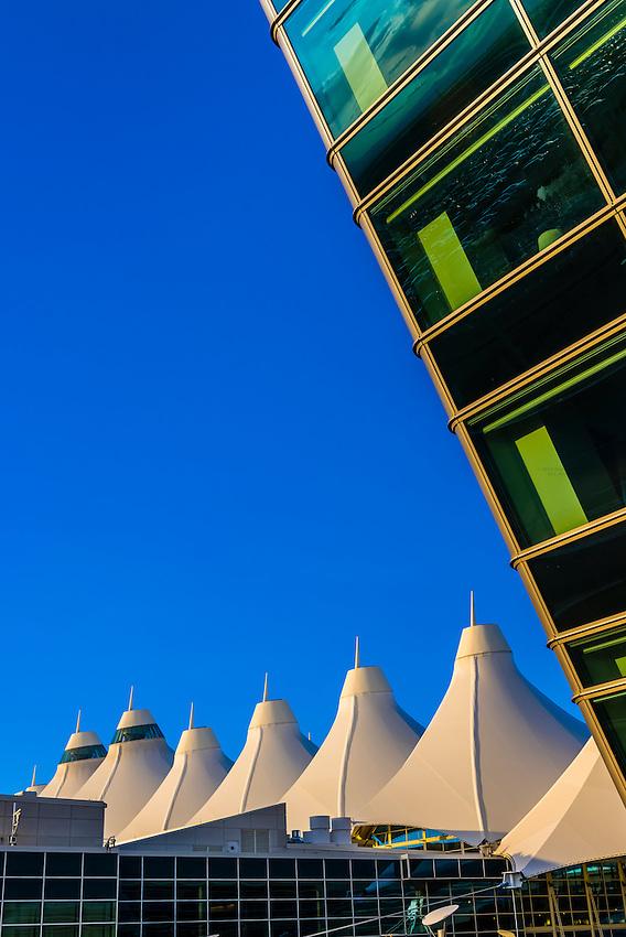 Jeppesen Terminal on left and Westin Denver International Airport Hotel on right, Denver International Airport, Denver, Colorado USA.