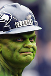 For years Seattle Seahawks fan Tim Froemke attends games as Seahulk, here he watches the Oakland Raiders with the ball at CenturyLink Field in Seattle, Washington on November 2, 2014.    The Seahawks beat the Raiders 30-24 in Seattle. ©2014. Jim Bryant Photo. All rights Reserved.
