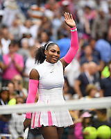 FLUSHING NY- SEPTEMBER 05: Serena Williams reaches 308th Grand Slam win against Vs Yaroslavl Shvedova on Arthur Ashe Stadium at the USTA Billie Jean King National Tennis Center on September 5, 2016 in Flushing Queens. Credit: mpi04/MediaPunch