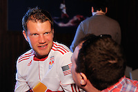 Teemu Tainio (2) of the New York Red Bulls is interviewed  on Media Day at Red Bull Arena in Harrison, NJ, on March 15, 2011.