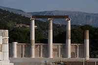 EPIDAURUS, GREECE - APRIL 15 : A general view of the columns in the two part stoa of the Abaton, or dormitory, on April 15, 2007 in Epidaurus, Greece. It forms part of northwest boundary of the central Sanctuary of Asklepios, north of the Temple of Asklepios. It was built c. 400  - 350 BC, in the Late Classical Period and is Ionic in style. The columns have been restored. Asklepios was the God of health and happieness and patients came to the sanctuary in search of a cure. (Photo by Manuel Cohen)