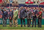 """27 April 2014: The newest members of the Washington DC Sports Hall of Fame are honored at Nationals Park in Washington, DC. Pictured (left to right) are Theodore N. Lerner - Managing Principal Owner, Washington Nationals, George Solomon - Former Sports Editor, The Washington Post, Charles """"Lefty"""" Driesell - Former Men's Basketball Head Coach, University of Maryland, Olaf """"Olie"""" Kolzig - Former Goalie, Washington Capitals, Johnny Holliday - Sports Broadcaster, Voice of Maryland football & basketball and Nats Xtra television host on MASN, Michael Weiss - Olympic and Professional Figure Skater, and Chris Weller - Former Women's Head Basketball Coach, University of Maryland. The Padres later defeated the Nationals 4-2 to to split their 4-game series. Mandatory Credit: Ed Wolfstein Photo *** RAW (NEF) Image File Available ***"""