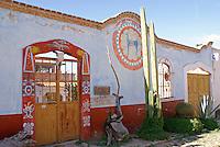 The Casa de Venado Azul, a store specializing in pre-Hispanic musical instruments  in the 19th century mining town of Mineral de Pozos, Guanajuato, Mexico.