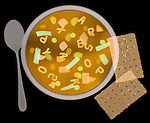 X-ray image of soup and crackers (color on black) by Jim Wehtje, specialist in x-ray art and design images.