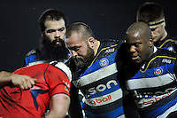 Tom Dunn and the rest of the Bath United forwards pack down for a scrum. Aviva A-League match, between Bath United and Bristol United on December 28, 2015 at the Recreation Ground in Bath, England. Photo by: Patrick Khachfe / Onside Images