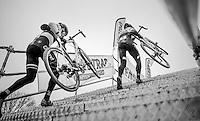 European Champion Toon Aerts (BEL/Telenet-Fidea) following teammate/race leader Tom Meeusen (BEL/Telenet-Fidea) up the steps<br /> <br /> elite men's race<br /> GP Sven Nys 2017