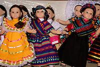 Dolls wearing traditional Mexican regional costumes, Manos Creativas cooperative,  Mineral de Pozos, Guanajuato, Mexico.