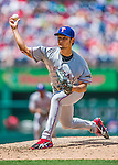 1 June 2014: Texas Rangers starting pitcher Yu Darvish releases a changeup against the Washington Nationals at Nationals Park in Washington, DC. The Rangers shut out the Nationals 2-0 to salvage the third the third game of their 3-game inter-league series. Mandatory Credit: Ed Wolfstein Photo *** RAW (NEF) Image File Available ***