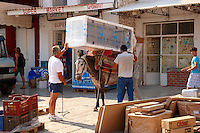 Pack Pony moving a fridge on Hydra,  Greek Saronic Islands