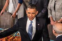 President Barack Obama arrives at the Inaugural Luncheon in Statuary Hall in the U.S. Capitol on Monday, January 21, 2013 in Washington, DC.