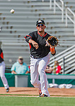 10 March 2015: Miami Marlins infielder Miguel Rojas in Spring Training action against the Washington Nationals at Roger Dean Stadium in Jupiter, Florida. The Marlins edged out the Nationals 2-1 on a walk-off solo home run in the 9th inning of Grapefruit League play. Mandatory Credit: Ed Wolfstein Photo *** RAW (NEF) Image File Available ***