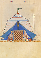 "Border players at the game inside a tent. Copy of the first edition of the ""Book of Chess, Dice and Board Games"", 13th century manuscript kept in the Library of the Real Monastery in San Lorenzo de El Escorial, on natural parchment made of animal skin published by Scriptorium SL in Valencia, Spain. © Scriptorium / Manuel Cohen"
