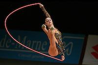 Anna Bessonova of Ukraine split leaps with rope at 2007 Thiais Grand Prix near Paris, France on March 25, 2007.