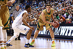 13 March 2015: Notre Dame's Steve Vasturia (32) and Duke's Matt Jones (13). The Notre Dame Fighting Irish played the Duke University Blue Devils in an NCAA Division I Men's basketball game at the Greensboro Coliseum in Greensboro, North Carolina in the ACC Men's Basketball Tournament semifinal game. Notre Dame won the game 74-64.