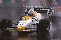 MONTE CARLO - JUNE 3: Keke Rosberg drives his Williams FW09 4/Honda RA163E in a heavy rain during the Monaco Grand Prix on June 3, 1984, at the Circuit de Monaco in Monte Carlo, Monaco.