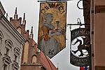 Restaurant signs in Krakow, Poland