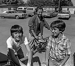 June 1981—Empire Camp-- Bee reporter Juan Esparza Loera and I went to the Labor Camp on the edge of Empire, California.  The camp manager greeted us; he attempted to stick to us like glue but after a while he got tired and went back to his office.  Giving Juan a chance to find out really what was going on in the camp.  I discovered that two of the young men I was talking with were freshmen at Texas A&M and were going to go back to their homes in Texas two weeks before school starts.  One said he had been coming to California to harvest crops since he was little boy and wanted to graduate college so he didn't have to bring his family back to harvest crops for a living.  Photo by Al Golub/Modesto Bee