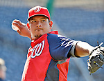 19 May 2012: Washington Nationals catcher Carlos Maldonado warms up prior to a game against the Baltimore Orioles at Nationals Park in Washington, DC. The Orioles defeated the Nationals 6-5 in the second game of their 3-game series. Mandatory Credit: Ed Wolfstein Photo