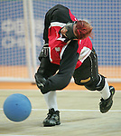 Amy Alsop of Regina takes a shot in goalball action against Brazil at the Paralympic Games in Beijing, Monday, Sept., 8, 2008. <br /> Photo by Mike Ridewood/CPC