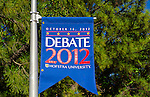 "Oct. 11, 2012 - Hempstead, New York, U.S. - Debate 2012 banners are throughout Hofstra University campus. ""Debate 2012 Pride Politics and Policy"" is a series of events leading up to when Hofstra hosts the 2nd Presidential Debate between Obama and M. Romney, on October 16, 2012, in a Town Meeting format."