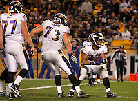 PITTSBURGH, PA - NOVEMBER 06:  Ray Rice #27 of the Baltimore Ravens celebrates in front of teammate Marshal Yanda #73 after scoring a touchdown against the Pittsburgh Steelers during the game on November 6, 2011 at Heinz Field in Pittsburgh, Pennsylvania.  (Photo by Jared Wickerham/Getty Images)