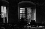 Interior view of a German castle, looking out of the window. April 1945