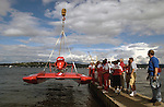 Hydros-PROP Seafair, Lake Washington, Seattle, Washington, USA 4 August,2002 .The Miss Budweiser is lowered to the water at Seafair..Copyright&copy;F.Peirce Williams 2002..F. Peirce Williams.photography.P.O. Box 455 Eaton, OH 45320 USA.317.358.7326  fpwp@mac.com