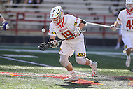 College Park, MD - February 18, 2017: Maryland Terrapins Will Bonaparte (19) wins the faceoff during game between High Point and Maryland at  Capital One Field at Maryland Stadium in College Park, MD.  (Photo by Elliott Brown/Media Images International)
