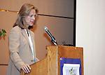Christie Hefner, Daughter of Hugh Heffner )Playboy Magazine) speaking at a WomanSage event on 10/29/05.