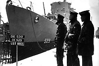 Negro sailors of the USS MASON commissioned at Boston Navy Yard 20 March 1944 proudly look over their ship which is first to have predominantly Negro crew.  (Navy)<br /> NARA FILE #:  080-G-218861<br /> WAR &amp; CONFLICT BOOK #:  935