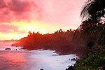 Sunset over Pacific, Puna, Hawaii