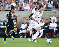 LOS ANGELES, CA – July 16, 2011: Kaka' (8) of Real Madrid and Juninho (19) of LA Galaxy during the match between LA Galaxy and Real Madrid at the Los Angeles Memorial Coliseum in Los Angeles, California. Final score Real Madrid 4, LA Galaxy 1.