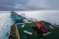 The Swedish icebreaker Oden begins to cut a corridor into the thin ice at the edge of the Arctic Ocean. The ice pack starts out in a remarkably straight line (background). Winds blowing from the south push thin ice, newly formed in the previous winter, against thick ice farther north that never melts and grows thicker and harder year by year.
