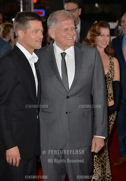 LOS ANGELES, CA. November 9, 2016: Actor Brad Pitt &amp; director Robert Zemeckis at a special fan screening for &quot;Allied&quot; at the Regency Village Theatre, Westwood.<br /> Picture: Paul Smith/Featureflash/SilverHub 0208 004 5359/ 07711 972644 Editors@silverhubmedia.com