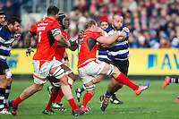 Tom Dunn of Bath Rugby takes on the Saracens defence. Aviva Premiership match, between Bath Rugby and Saracens on December 3, 2016 at the Recreation Ground in Bath, England. Photo by: Patrick Khachfe / Onside Images