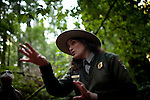 Ranger Mia Monroe talks to visitors in Muir Woods National Monument, January 26, 2011.