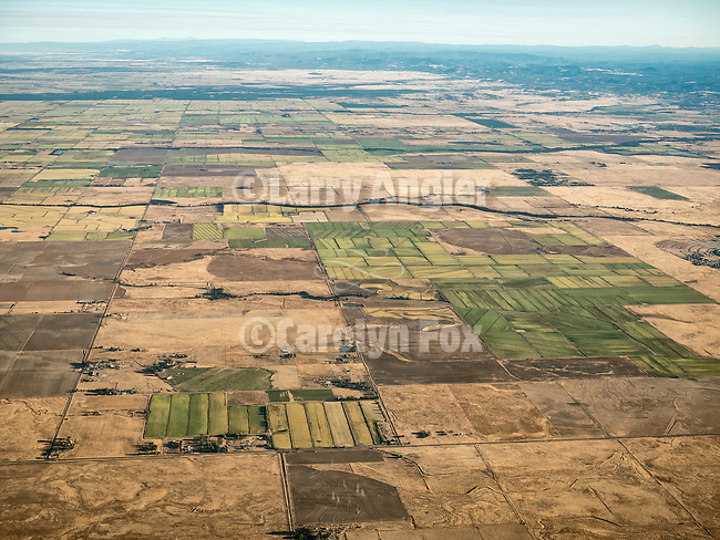 Looking north toward the western slope of the Sierra Nevada flying over the Sacramento Valley near Lincoln and western Placer County, USA Fly-over County-from the window seat of Southwest #1882 from SMF to DAL, September 2016