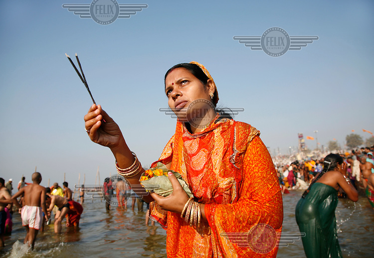 Pilgrims offer special prayers and bathe in the River Ganges (the Ganga) on Makar Sankranti during the Ardh Kumbh Mela.