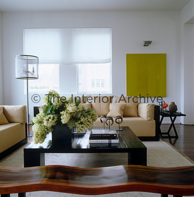 A pair of comfortable sofas and a large coffee table in the living area of the contemporary penthouse