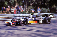 British driver Tom Pryce handles his Shadow-Ford during the training sessions of the 1975 Spanish Grand Prix